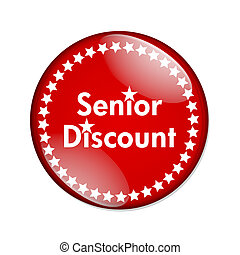 Seniors Discount button - A black and red button with words...