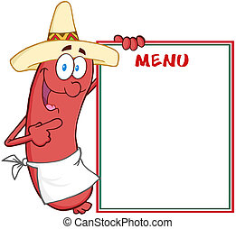 Happy Sausage Showing Menu - Happy Sausage With Mexican Hat...