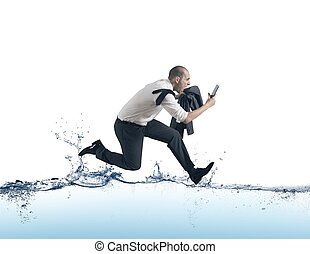 Businessman run on the water - Concept of of stress with...