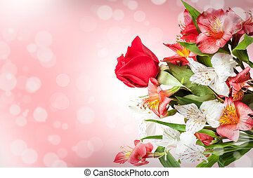 gentle pink and white spring flowers. bouquet with one red...