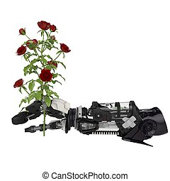 Flower Robotics - A Roses flower in a robotic hand