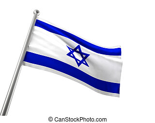 israel flag isolated on white