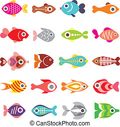 Fish vector icon set - Aquarium Fishes - set of vector icons...