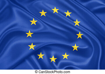Flag of Europe - Flag of the European Union waving with...