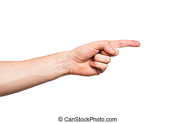 Male hand on white background - Male hands, fingers,...