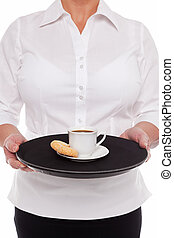 Waitress with Espresso coffee and Amaretti biscuits,