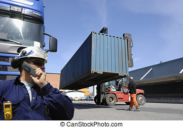 forklift stacking freight container - forklift stacking...