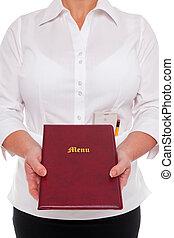 Waitress handing you a Menu