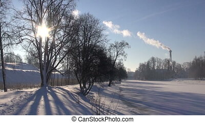 winter landscape and Smokestack Pollution in the air