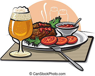 beer, cutlets and sauce