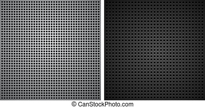 Metallic backgrounds with holes. Vector illustration