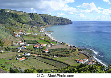 Azores, Santa Maria, Praia Formosa - rocky coastline, beach with white sand