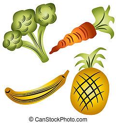 Fruits and Veggies - An image of broccoli, carrot, banana...