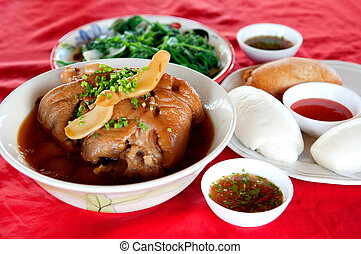 Stewed pork leg - Traditional Chinese food Stewed pork leg...