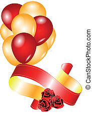 roses and balloons - congratulatory background. roses and...