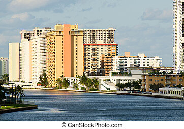 Modern buildings on intracoastal waterway in Hollywood...