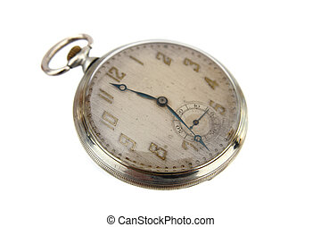 old pocket clock isolated on the white background