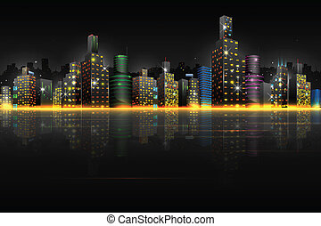 Night Scene of City - illustration of night scene of city...