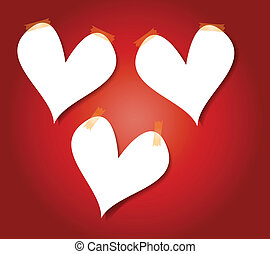 Heart Paper Background with masking tape graphic vector...