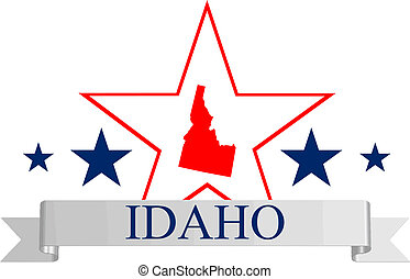 Idaho star - Idaho state map, star and name.