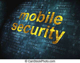 Safety concept: Mobile Security on digital background -...