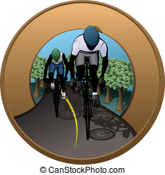 Cycling Patch - Vector illustration of a female and male...