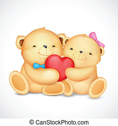 Teddy Bear Couple hugging heart - illustration of cute...