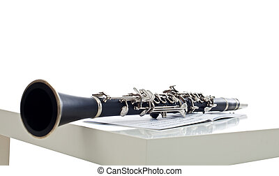 Clarinet on the sheet, music instrument for symphony band