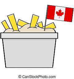Canadian poutine - Cartoon illustration showing a bowl of...
