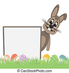easter bunny behind signboard colorful eggs