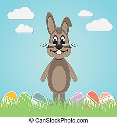 brown easter bunny colorful eggs - brown easter bunny lawn...