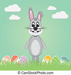gray easter bunny lawn and colorful eggs