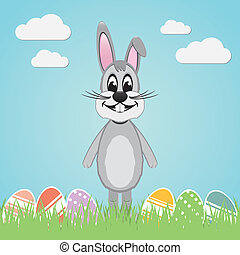 gray easter bunny colorful eggs - gray easter bunny lawn and...