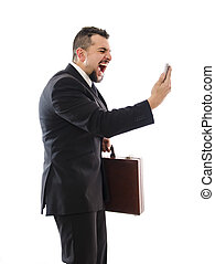 Agressive businessman shouting phone