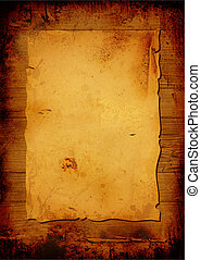 Aged parchment - Worn parchment placed over a wooden...