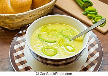 Fresh leek soup - Delicious fresh leek soup in the bowl