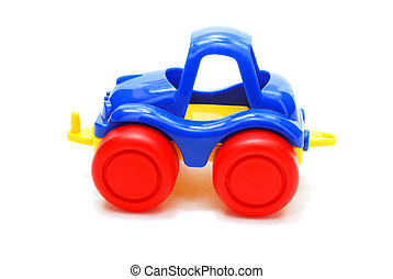 Blue Car Toy - Tiny Blue Car Toy with Red Wheels Isolated on...