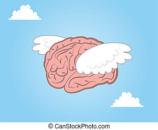 Brain Flying - Brain with wings flying through the sky