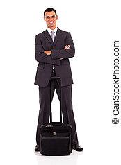 smart business traveler full length portrait on white
