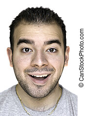 Happy Dude - A headshot of a young man that is amazed or...