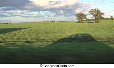 car shadow on field and speed