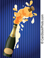 champagne - illustration of bottle of open champagne