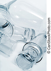 glassware - closeup of some different empty glasses in a...