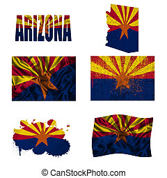 Arizona flag collage - Arizona flag and map in different...