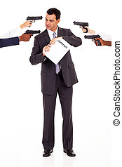 when breaking contract - businessman being attacked at gun...