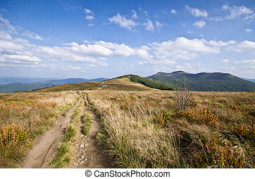 Path on the peak in Carpathians mountains