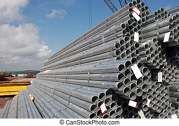 industrial steel - steel pipes on a dock in youghal ireland