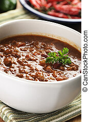bowl of red hot beef chili - bowl of red hot chili with...