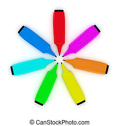 Circle from felt tip pens - Multicolored felt tip pens in a...
