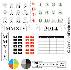 roman numerals calendar and elements for 2014 - A set of...